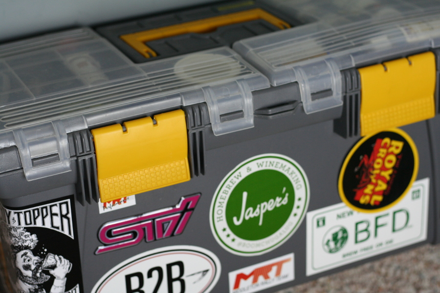 Toolbox with Homebrewing Stickers